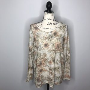 Floral long sleeve open knit top L B49